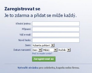 Registrace na facebook.com