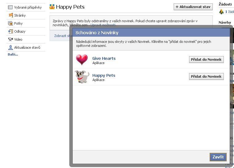Obnovení zpráv z aplikací na Facebook
