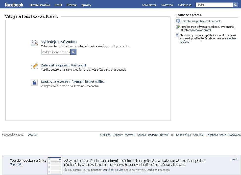 Dokončení registrace na facebook