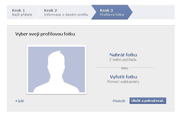 Volba profilové fotky na Facebook