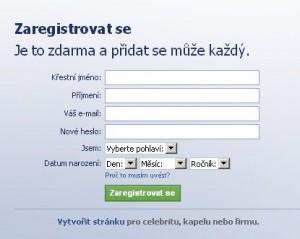 Registrace na facebook.com